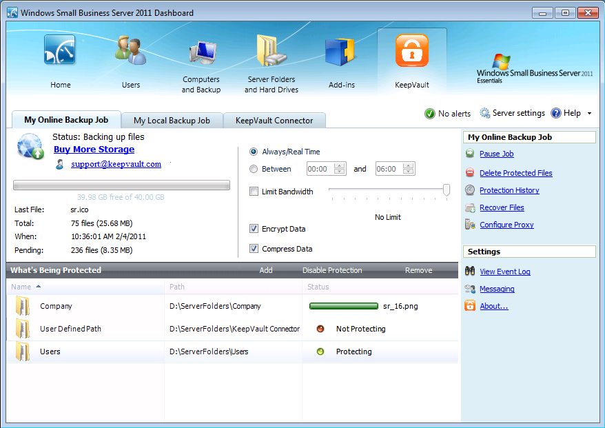 KeepVault supports simultaneous local and online backup